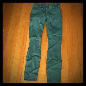 Green stretch skinny jeans size 00
